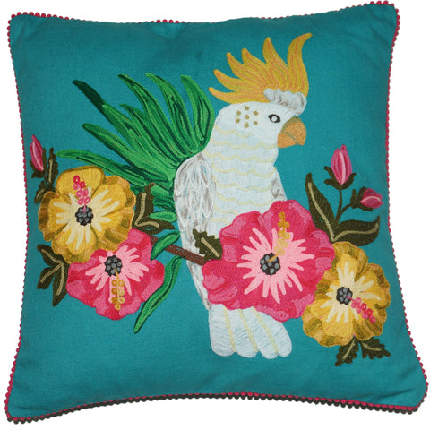Cockatoo Cushion - Turquoise Multi
