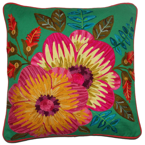 Floral Cushion - Large Hibiscus - Emerald Multi