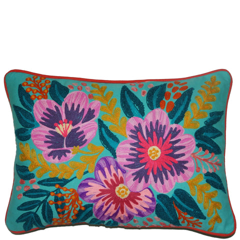 Floral Cushion - Small Hibiscus - Aqua Multi