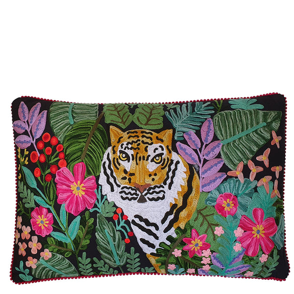 Tiger in the Flowers Cushion - Multicolour