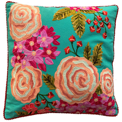 Rose Cushion - Turquoise Multi