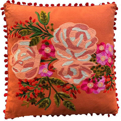 Rose Cushion - Coral Multi - Cotton / Polyester