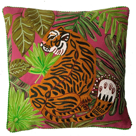 Tiger in the Jungle Cushion - Maroon Multi