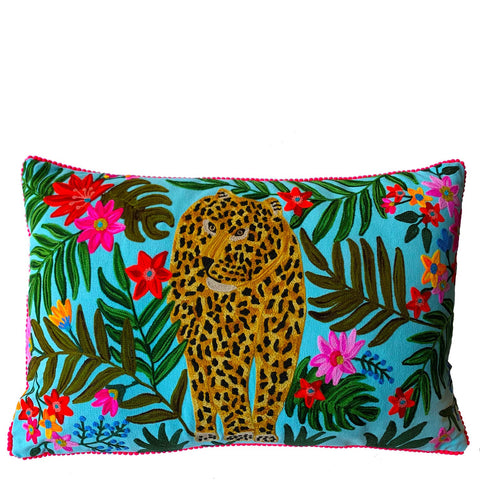 Cheetah Cushion - Pale Blue Multi