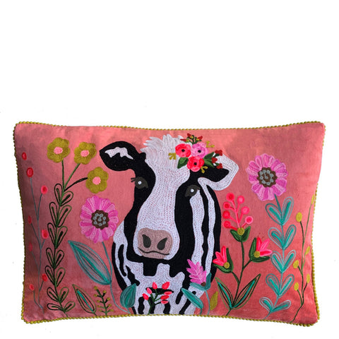 Jersey Cow Cushion - Watermelon Multi