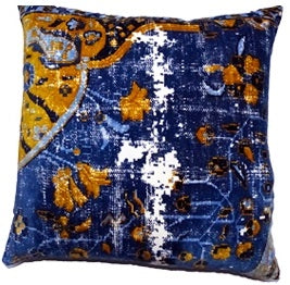 Velvet Vintage Floor Cushion Royal Blue Mustard