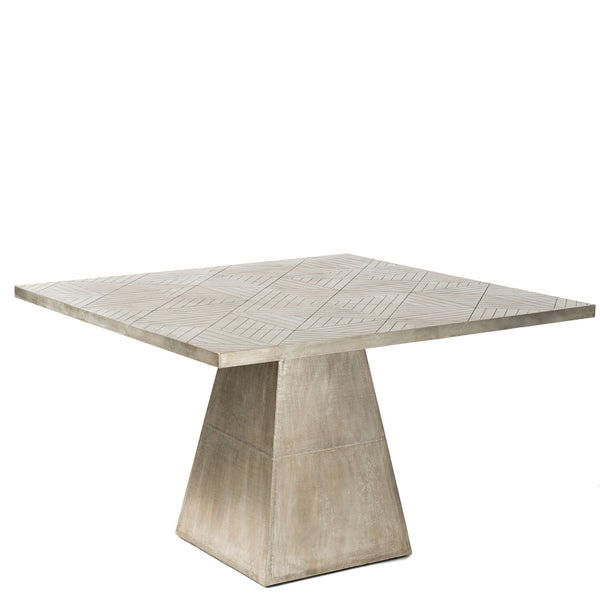 Embossed White Metal Dining Table Antique Silver