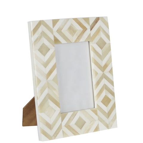 Bone Photo Frame - Diamond - Cream