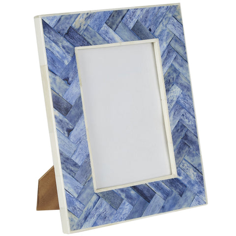 Bone Photo Frame - Criss Cross - Blue