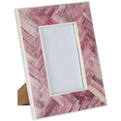 Bone Photo Frame - Criss Cross - Pink
