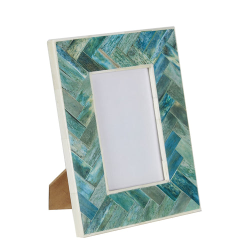 Bone Photo Frame - Criss Cross - Green
