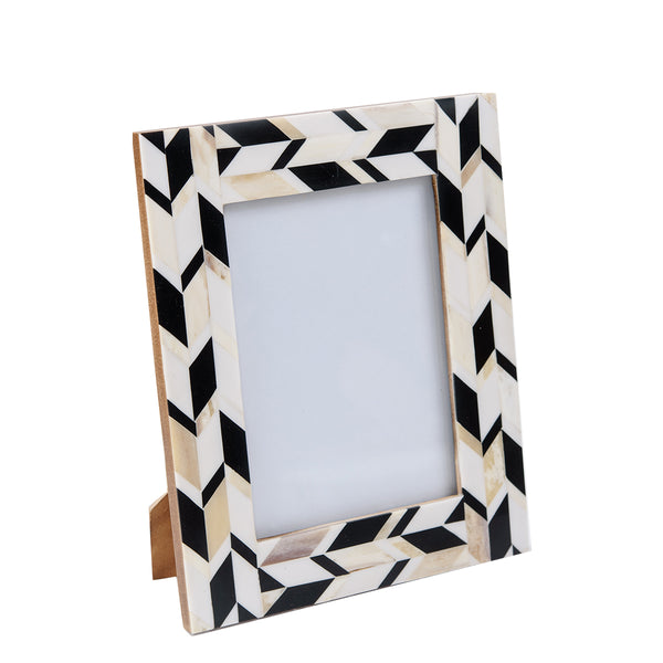 Bone Inlay Frame - New Chevron - Black / White / Grey