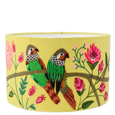 Drum Lampshade - Velvet Embroidered Parrots - Lime Multi