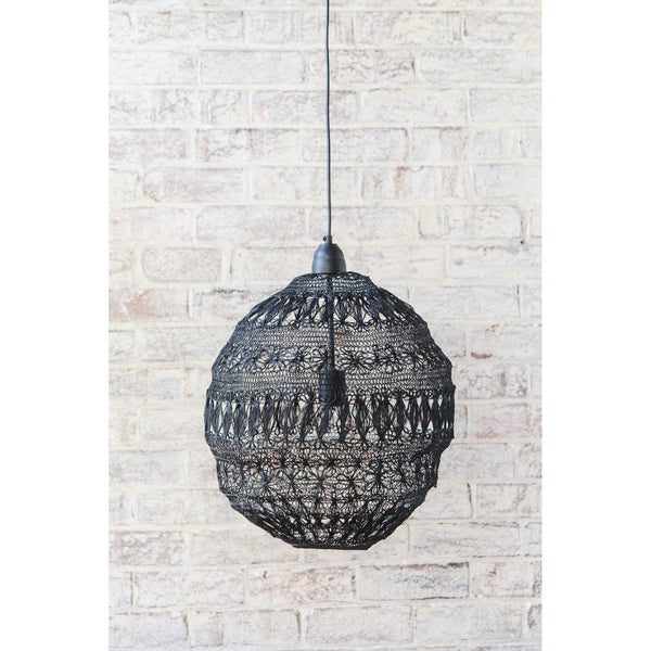 Crochet Lamp - Floral Ball - Black