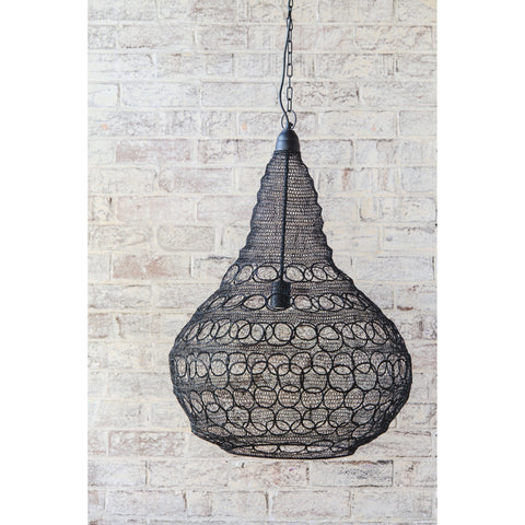 Crochet Lamp - Circle Bulb - Black