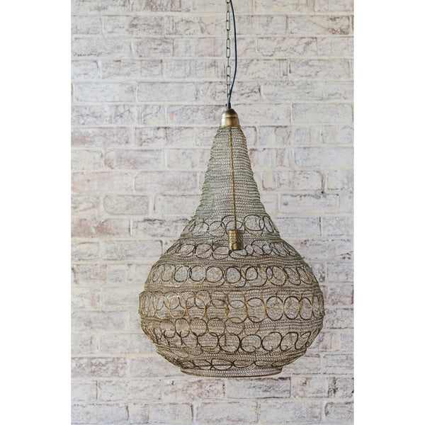 Crochet Lamp - Circle Bulb - Matt Gold