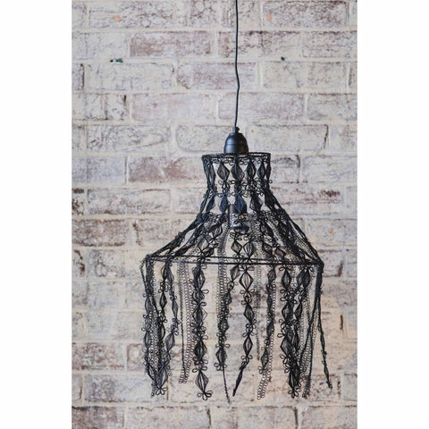 Crochet Lamp - Hanging Vine - Black