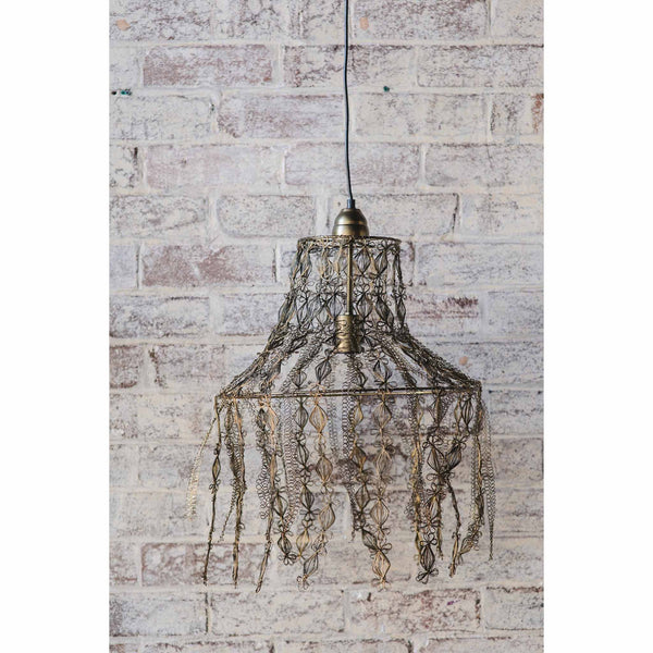 Crochet Lamp - Hanging Vine - Gold