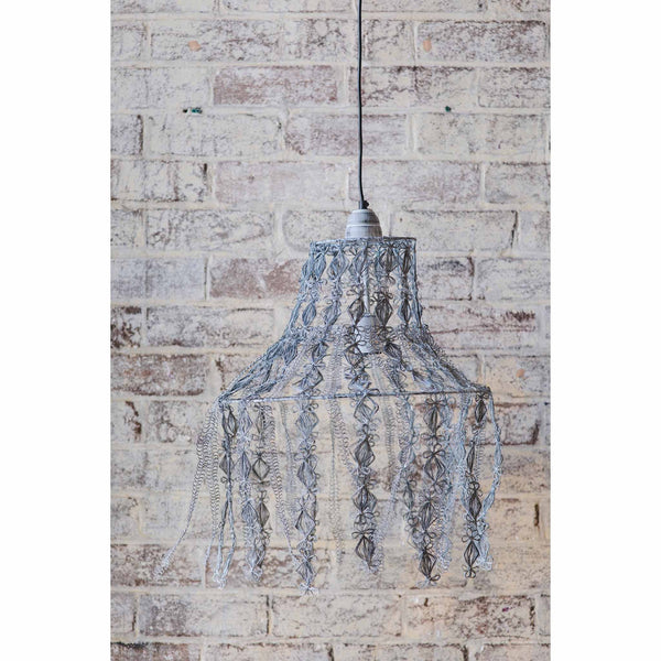 Crochet Lamp - Hanging Vine - Grey