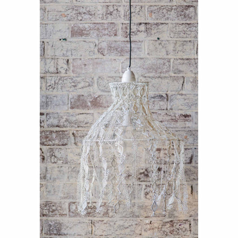 Crochet Lamp - Hanging Vine - White