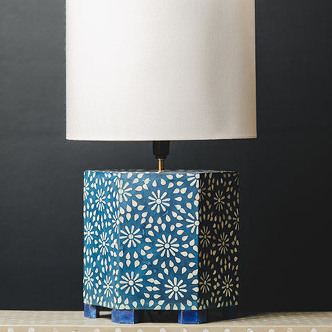 Bone Inlay Hexagonal Lamp Base - Chrysanthemum - Indigo / White