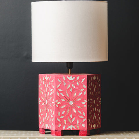 Bone Inlay Hexagonal Lamp Base - Sunburst - Hot Pink / White