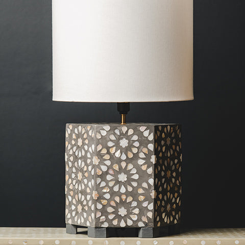 MOP Inlay Hexagonal Lamp Base - Chrysanthemum - Taupe / White
