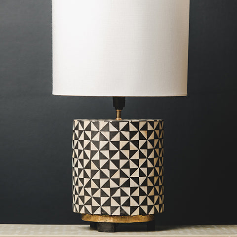 Bone Inlay Round Lamp Base with Metal Base - Trian - Black / White