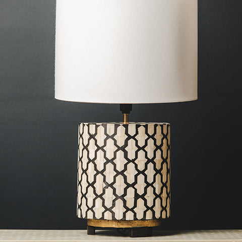 Bone Inlay Round Lamp Base with Metal Base - Jali - Black / White