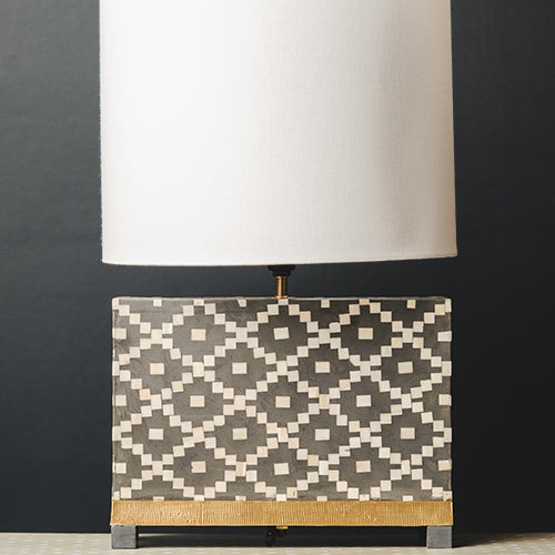 Bone Inlay Rectangular Lamp Base with Metal Base - Charcoal / White