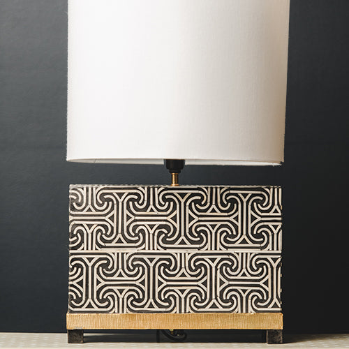 Bone Inlay Rectangular Lamp Base with Metal Base - Black / White