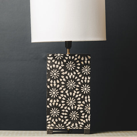 Bone Inlay Rectangular Lamp Base - Chrysanthemum - Black / White