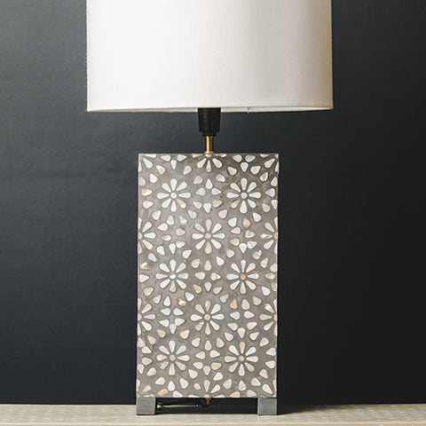MOP Inlay Rectangular Lamp Base - Chrysanthemum - Taupe / White