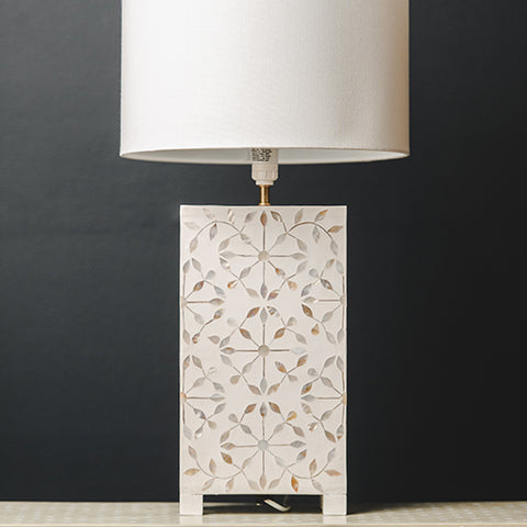 MOP Inlay Rectangular Lamp Base - Sunburst - White / White