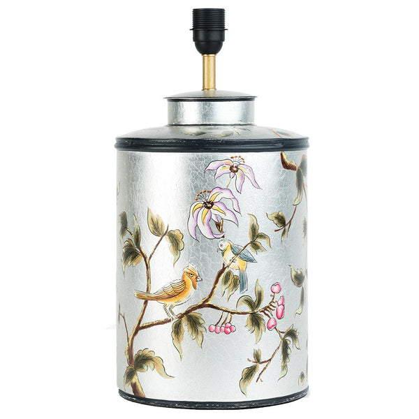 Chinoiserie Lamp Base - Bird - Silver Leaf Multi
