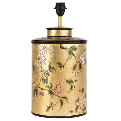 Chinoiserie Lamp Base - Bird - Gold Leaf Multi