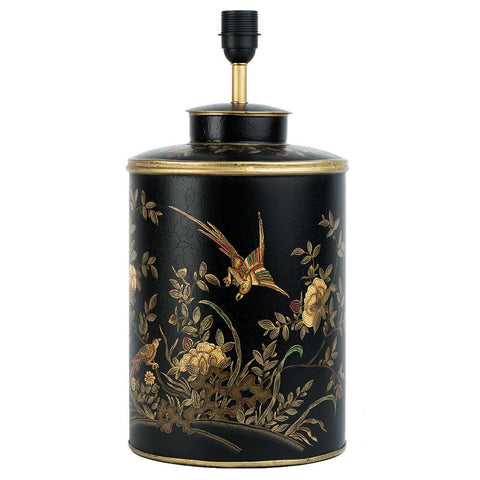 Chinoiserie Lamp Base - Golden Bird - Black Multi