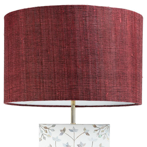 Drum Shade - Raw Silk - Pink / Red