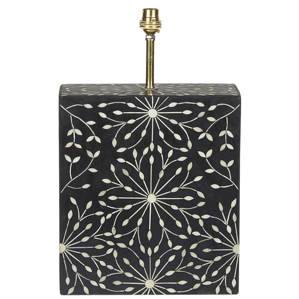 Bone Inlay Lamp Base - Deco Starburst - Black