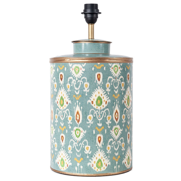 Ikat Lamp Base - Duck Egg Blue