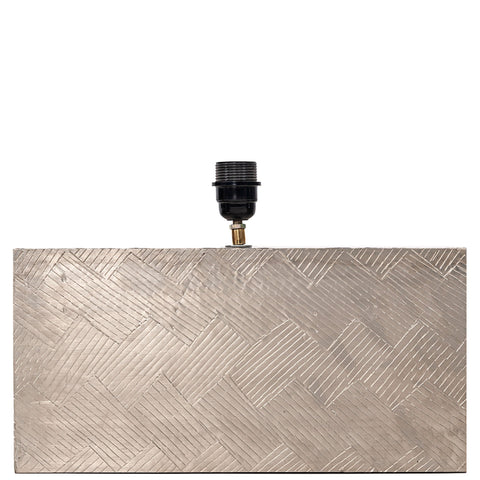 Anatole White Metal Rectangular Lamp Base - Silver