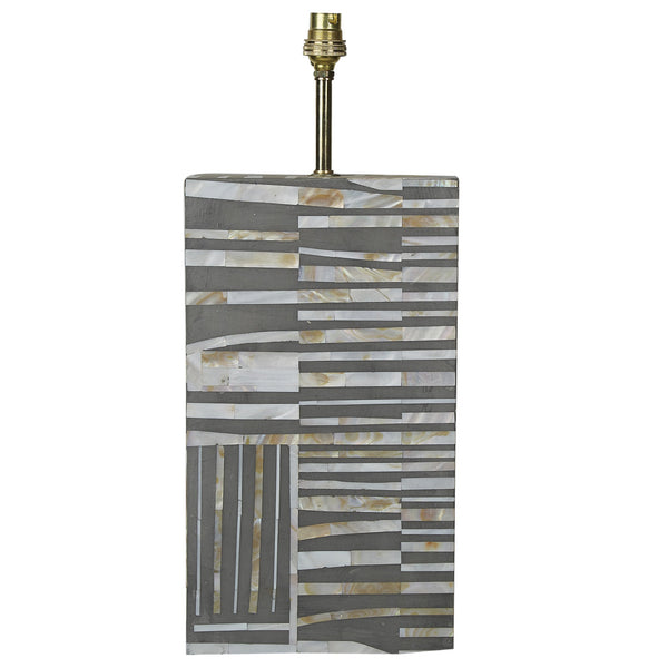MOP Inlay Lamp Base - Scribble - Taupe - Grey
