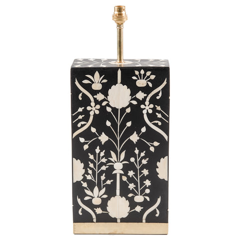 Bone Inlay Lamp Base - Moghul Flower - Black / White
