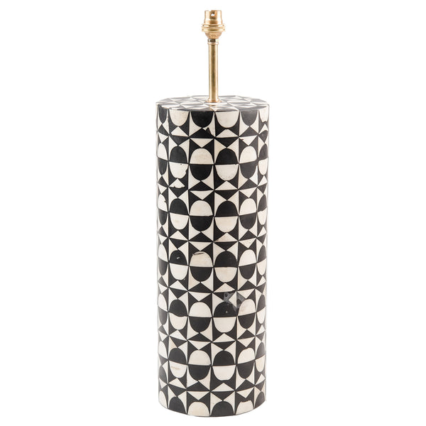 Bone Inlay Round Lamp Base - Wine Glass - Black / White