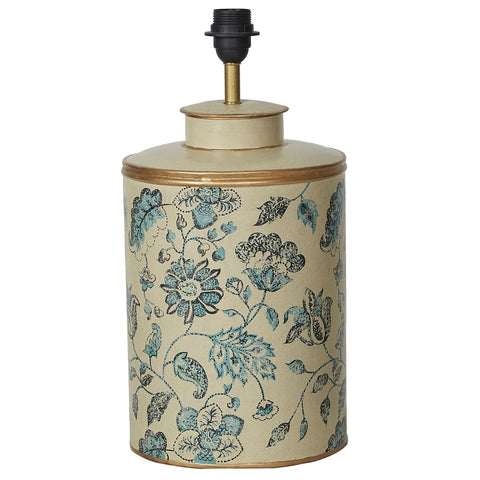 Chintz Lamp Base - Natural / Ink Blue