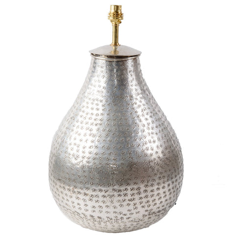 Silver Plated Brass Lamp Base - Teardrop - Silver