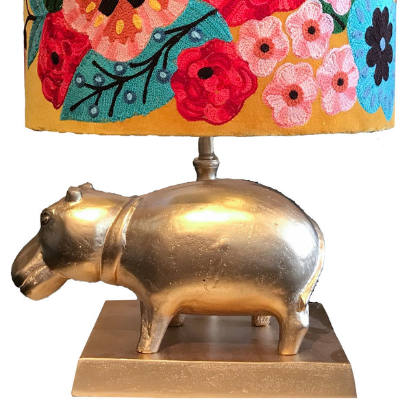 Hippopotamus Lamp Base - Matt Gold