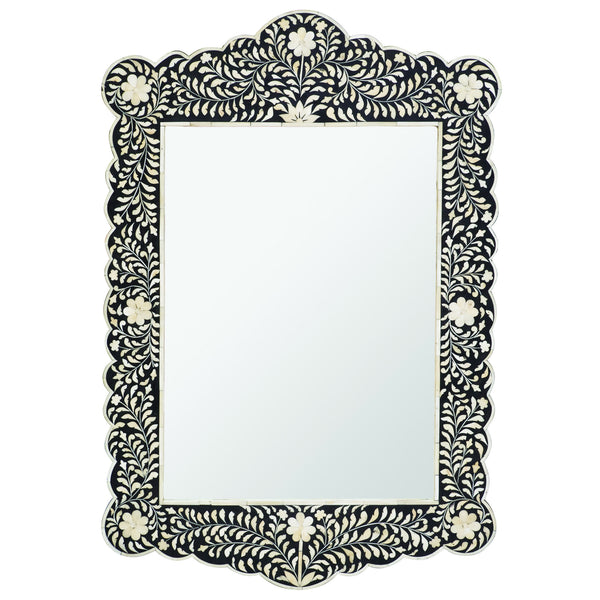 Bone Inlay Scalloped Mirror - Floral Design - Black