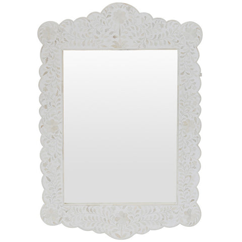 Bone Inlay Scalloped Mirror - Floral Design - White