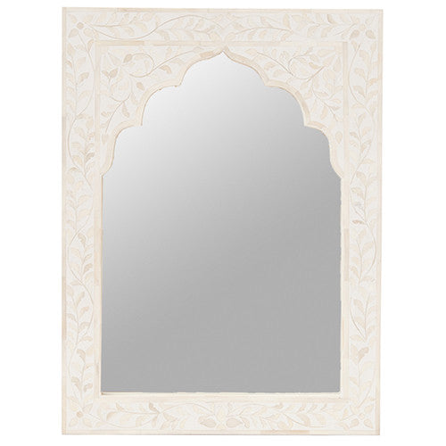 Bone Inlay Mirror Small Floral White